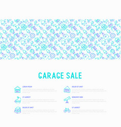 Garage sale concept with thin line icons vector