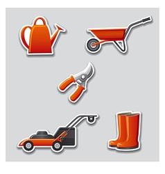 Gardening tools stickers vector
