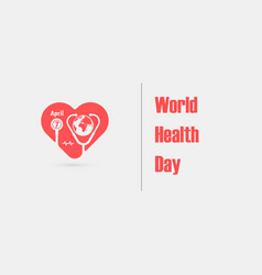 globe sign and stethoscope icon with heart shape vector image