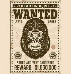 gorilla head wanted poster in vintage style vector image