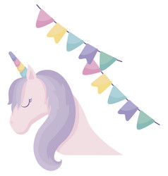 Head cute unicorn animal with garlands hanging vector