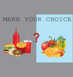healthy and unhealthy food vector image