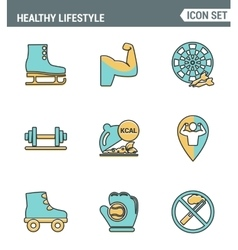 Icons line set premium quality of healthy vector image