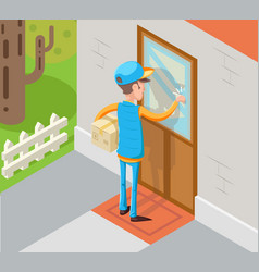 Isometric express courier special delivery boy man vector