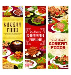 Korean restaurant menu asian food dishes vector