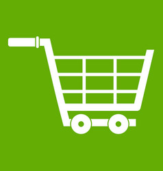 large shopping trolley icon green vector image
