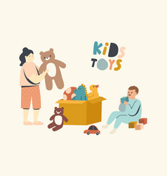 Little boy and girl playing with toys sitting vector