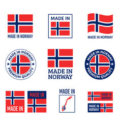 made in norway labels set kingdom norway icon vector image