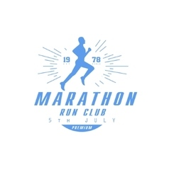 Marathon Running Blue Label Design vector