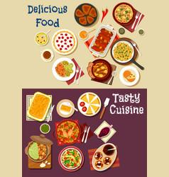 mediterranean and asian cuisine icon set design vector image