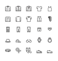 menswear and accessories icons vector image