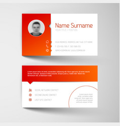 Modern white and red business card template vector