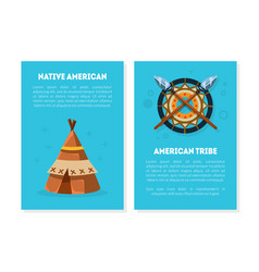 native american card templates with ethnic symbols vector image