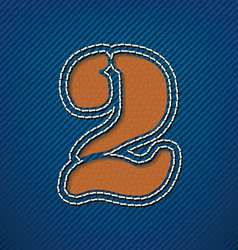 Number 2 made from leather on jeans background vector
