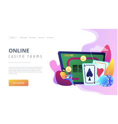 Online poker concept landing page vector