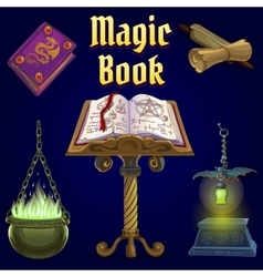 Open magic book and set fairy tale elements vector