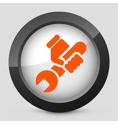 Orange and gray elegant glossy icon vector