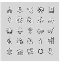 outline icons set - easter symbols spring vector image