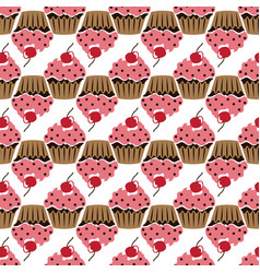 pink cream cupcake with cherry seamless pattern vector image vector image