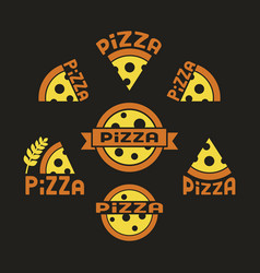pizza set against a dark background vector image
