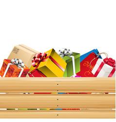 presents in wooden basket 02 vector image