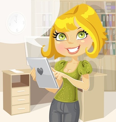 Pretty business woman in office with tablet vector image