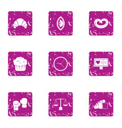 Proportion of food icons set grunge style vector