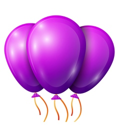 Realistic purple balloons with ribbon isolated on vector