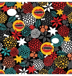 Round pattern with crazy mouth vector image vector image
