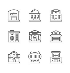 set line icons buildings vector image
