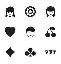 set of 9 editable casino icons includes symbols vector image vector image