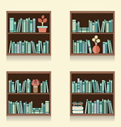 Set Of Wooden Bookshelves On Wall vector image