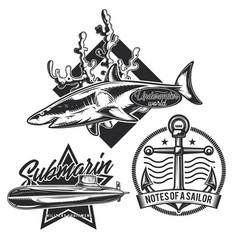 set underwater stuff vintage emblems vector image