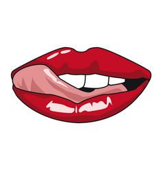 Sexy lips pop art vector