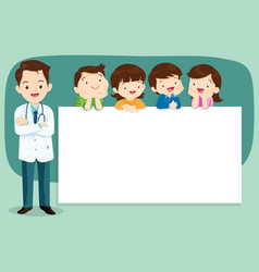 Smart doctor and cute children with banner vector