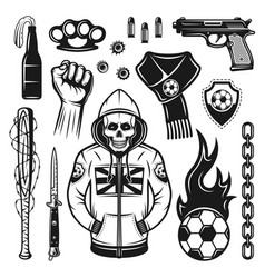 Soccer hooligans attributes set objects vector