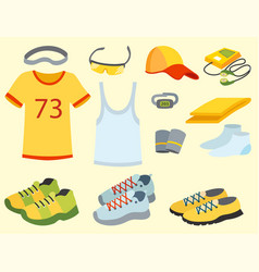 Sportswear running clothes runner gears for sport vector