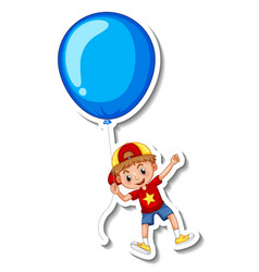 sticker template with a boy flying with a big vector image