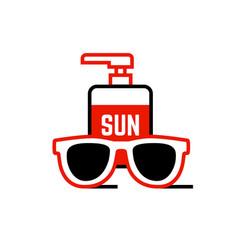 sunblock cream and sunglasses icon vector image