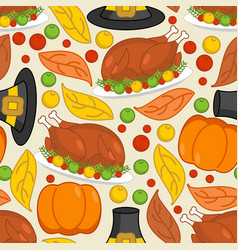 Thanksgiving seamless pattern roasted turkey and vector