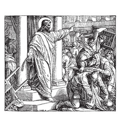 The money-changers driven from the temple vintage vector