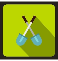 Two crossed shovels icon flat style vector