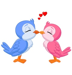 Two love birds kissing vector