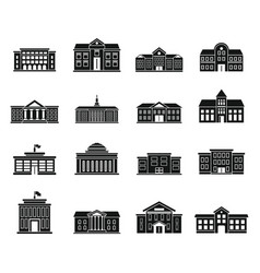 University building icons set simple style vector