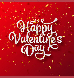 valentines day love lettering with golden confetti vector image