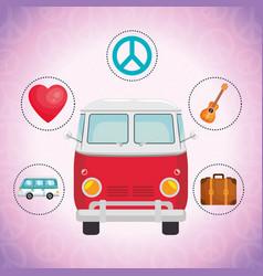van hippie culture style vector image