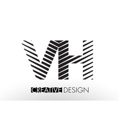 Vh v h lines letter design with creative elegant vector