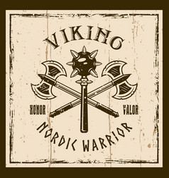 vikings weapons emblem or t-shirt print vector image