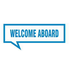 Welcome aboard sign welcome aboard square speech vector