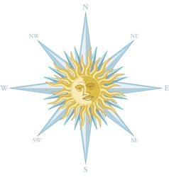 wind rose with image sun face vector image